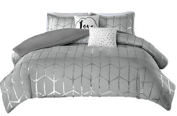 Gray Love Comforter Set