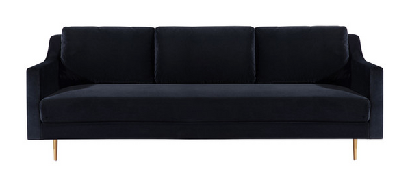 Black Velvet Glam Sofa BACK IN STOCK JUNE 24th (call for pre ordering)