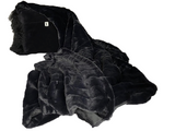 Black Mongolian Wool Pillow Throw & Tuck (Oversized Throw)