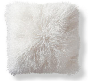 White Mongolian Pillow Throw & Tuck