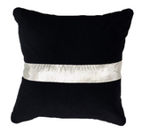 Black Velevt Pillow with Silver Silk Taffeta Stripe