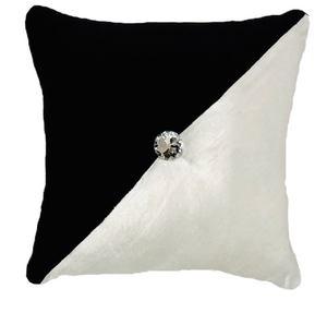 Black & White Velvet with Tufted  Diamond