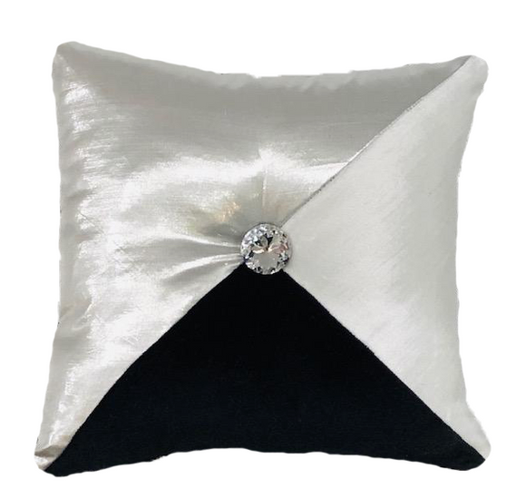 Silver Silk Taffeta with Tufted Diamond Pillow