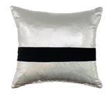 Silver Silk Taffeta Pillow with Black Velevt Stripe