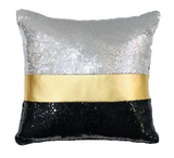 Gold Leather / Black  Velvet & Silver Sequins Pillow