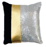 Black Velvet / Gold Leather & Silver Sequins Pillow