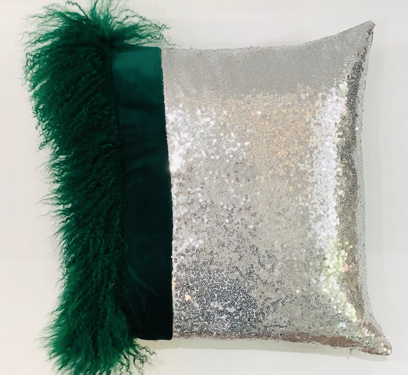 Green Mongolian Wool & Silver Sequin Pillow