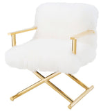 Glam White Mongolian Accent Chair