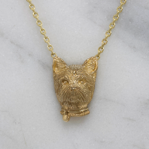 Gold Yorkie Necklace