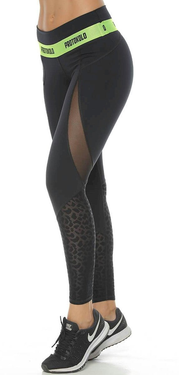 A Animal Print with Mesh Legging Style 20053