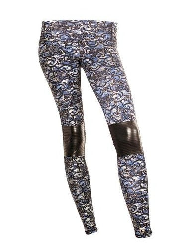 Body Rock Blue Metallic Silver Lace Print Moto Legging