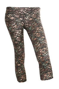 Body Rock Mint Lace Print Mid Calf Capri