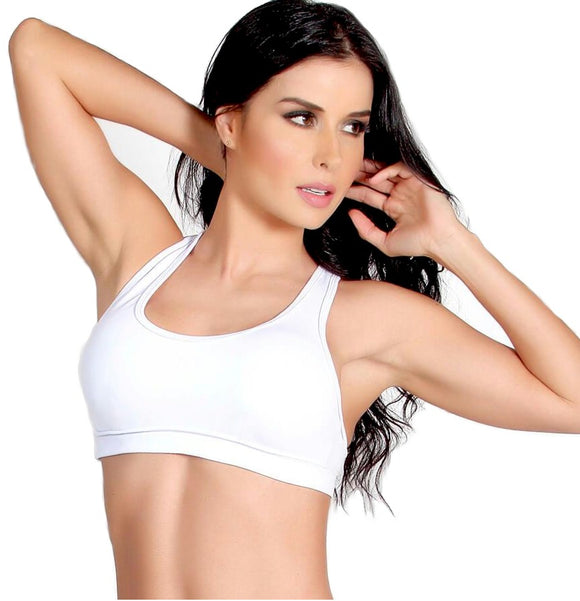 Racer Back Bra Top White Medium