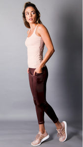 Chocolate Sofie Shine Legging with Pocket by Equilibrium Activewear Style EQ-7007
