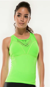 Helen Neon Green Tank Top with Removable Pads