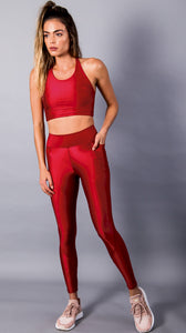 Red Devine Leggings with Pocket by Equilibrium Activewear
