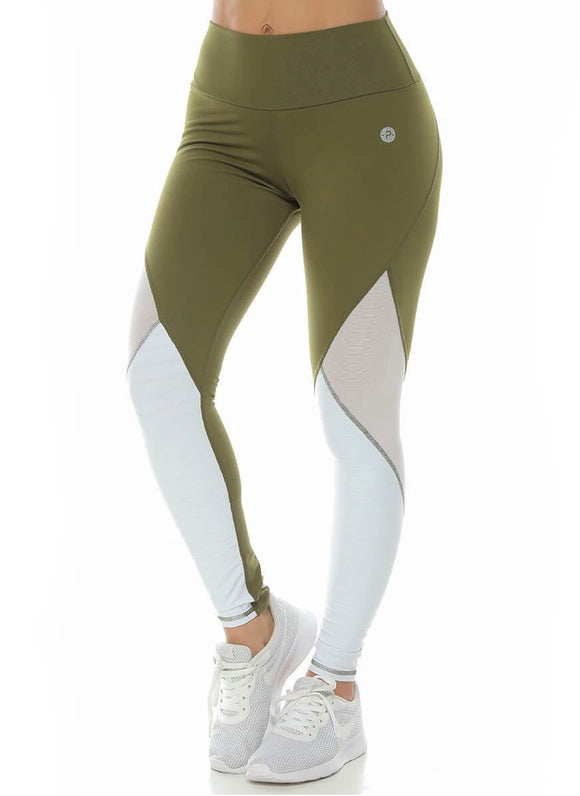 Army Green with White Insert Legging