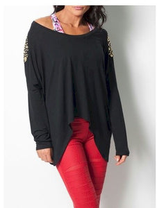 Cropped Boxy Top Black w/Gold  by Body Rock Sport