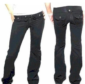 Black Cargo Pocket Pant with Denim Trim