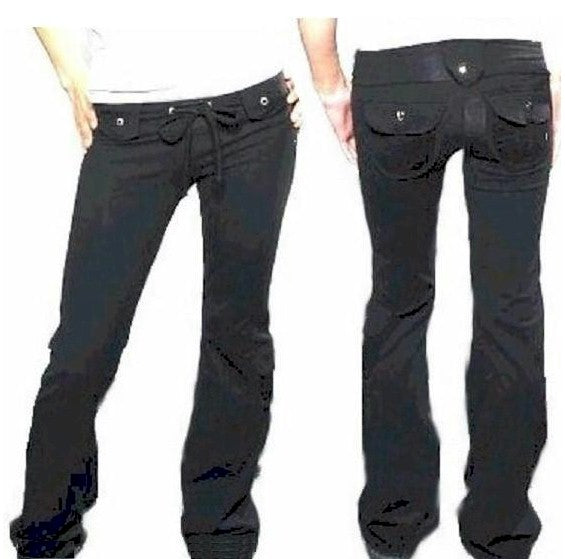 Solid Black Cargo Pocket Pants