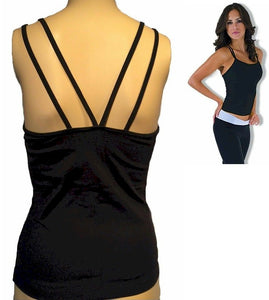 Black Double V Back Tank Top by Nina Bucci Activewear on Sale