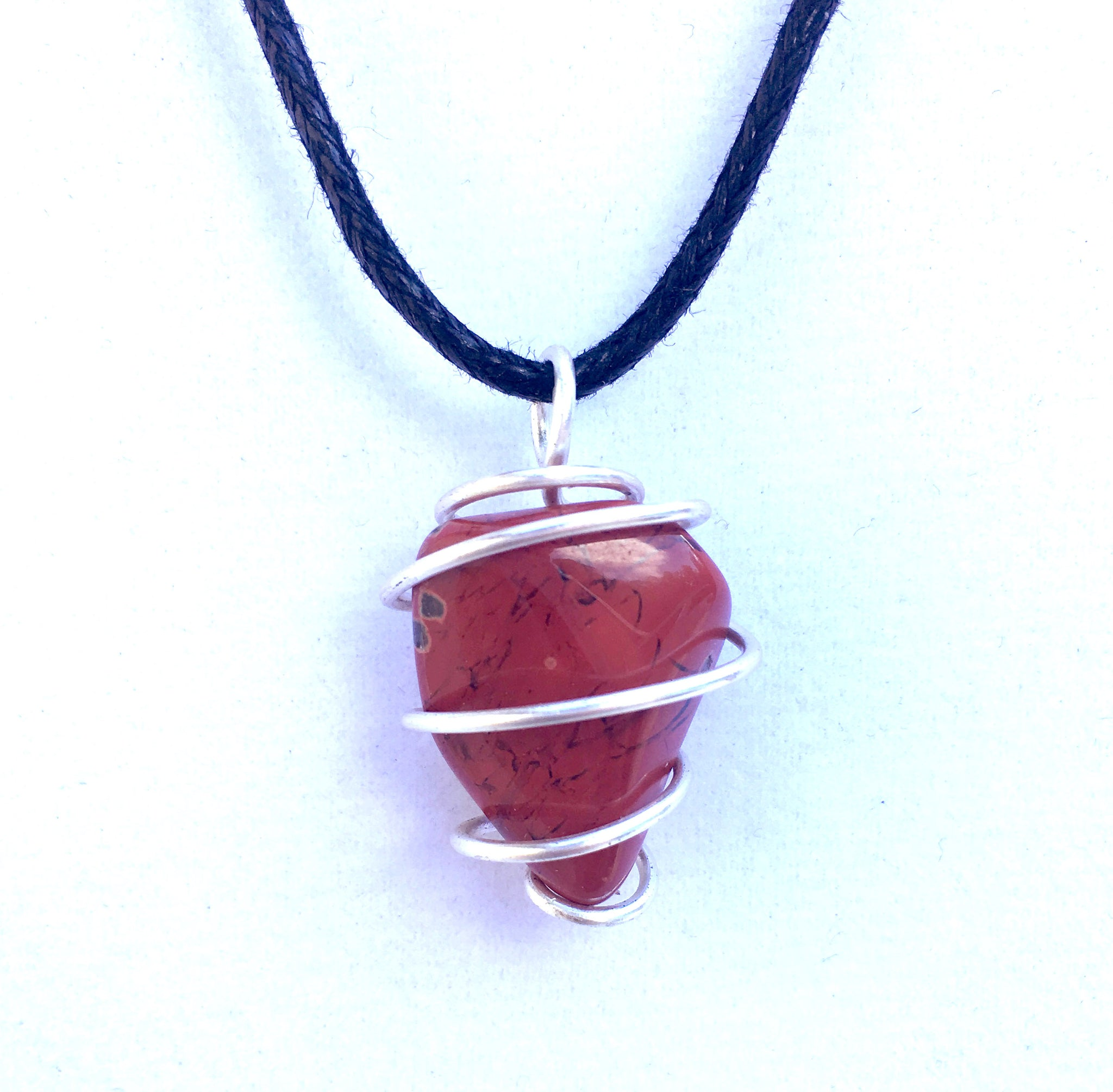 Tumbled Red Jasper Spiral Cage Pendant