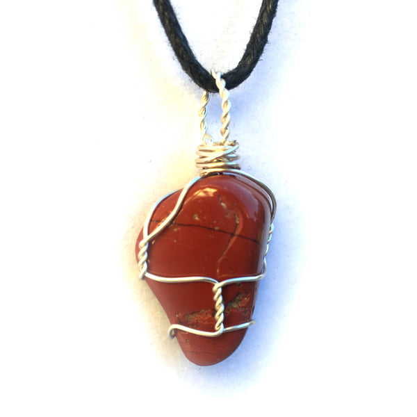 Tumbled Red Jasper Wire Wrapped Pendant