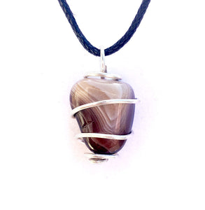 Tumbled Botswana Agate Wire Wrapped Pendant