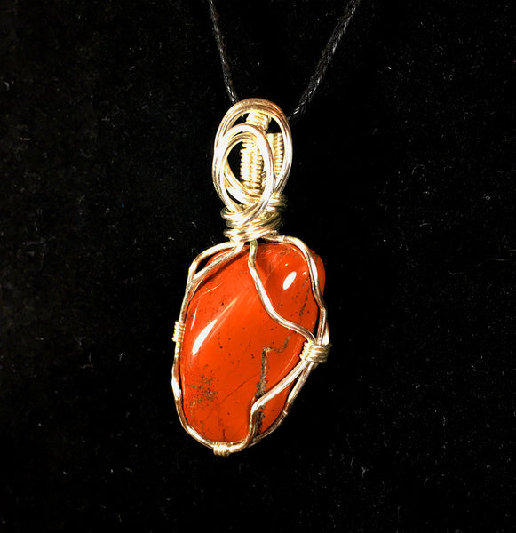 Tumbled Red Jasper Wire Wrapped Pendant - Advanced Wrapping