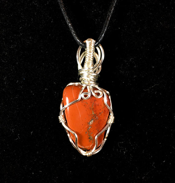 Tumbled Red Jasper Wire Wrapped Pendant - Advanced Wrapping - Morgan Cerese Art