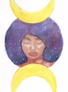 """Moon Goddess"" Watercolor Painting - 6x8 inches"