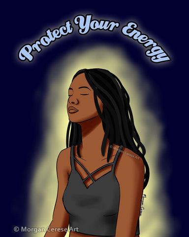 "Protect Your Energy 5""x7"" Print - Black Woman With Locs Meditation Art - Morgan Cerese Art"