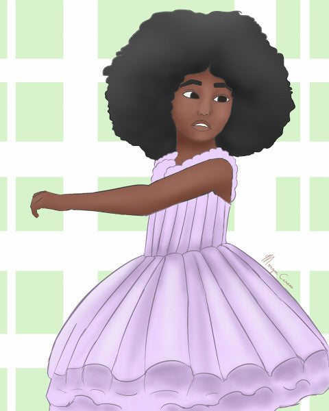Little Black girl with an afro wearing a purple tutu