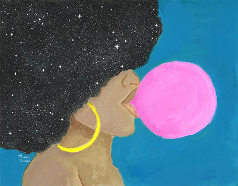 """Afro Pop"" Acrylic Painting - 11x14 inches - Melanin Natural Hair Bubblegum Queen by Morgan Cerese Art"