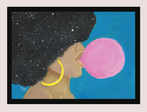 "Afro Pop 5""x7"" Print - Melanin Natural Hair Bubblegum Queen by Morgan Cerese Art"