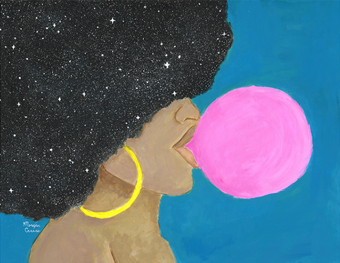 "Afro Pop 11""x14"" Print - Melanin Natural Hair Bubble Gum Queen - Morgan Cerese Art"