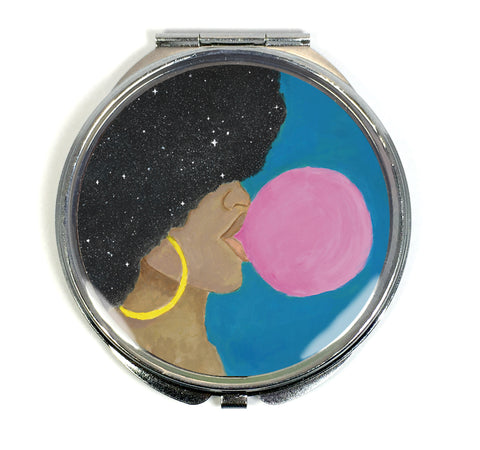 Afro Pop Compact Mirror - Melanin Natural Hair Bubble Gum Queen by Morgan Cerese Art