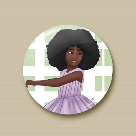 Afro Ballerina Pin-back Button - Morgan Cerese Art
