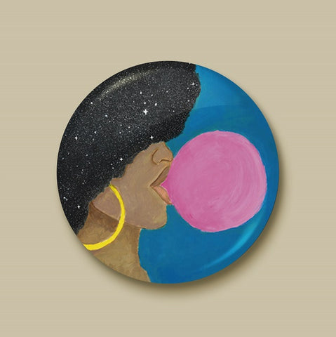 Afro Pop Pin-back Button - Morgan Cerese Art