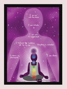 "Crown Chakra - Sahasrara Healing Affirmation 5""x7"" Print - Morgan Cerese Art"