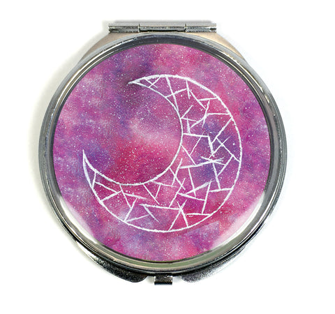 Cosmic Moon (Red) Compact Mirror