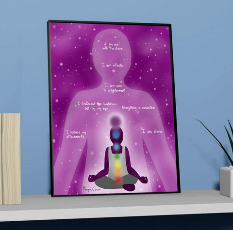 "Crown Chakra - Sahasrara - Healing Affirmation 11""x14"" Art Print - Morgan Cerese Art"