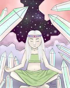 Girl with pale skin meditating in a crystal cave