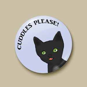 Cuddles Please Pin-back Button - Morgan Cerese Art