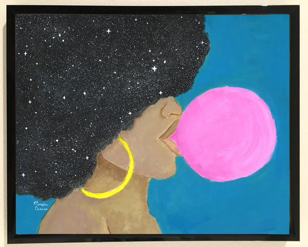 Afro Pop Print - 8x10 inches - Melanin Natural Hair Bubble Gum Queen by Morgan Cerese Art