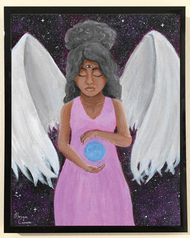 Angel of Clarity 8x10 Art Print - Black Woman Curly Natural Hair Afro - Morgan Cerese Art