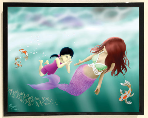 Swimming Lesson 8x10 inch Art Print - Mermaid Little Girl Koi Fish Artwork - Morgan Cerese Art