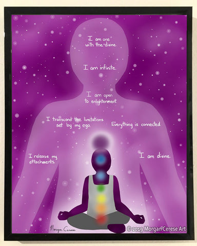 "Crown Chakra - Sahasrara Healing Affirmation 8""x10"" Print - Morgan Cerese Art"