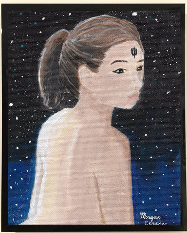 Woman with the Neptune symbol on her forehead looking over her shoulder. Starry sky in background.