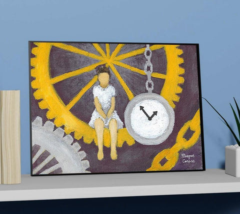 "Gears of Time 11""x14"" Print - Steampunk Clock Surreal Artwork - Morgan Cerese Art"